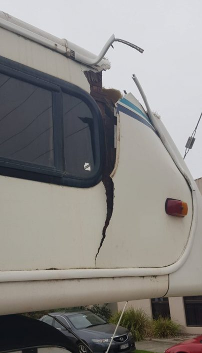 A Winnebago with extensive cabin damage